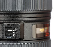 Focus button on lens Royalty Free Stock Photography