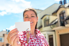Focus on the card  and house keys Royalty Free Stock Photography