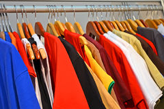 Shirt line diversity in cloak-room, fashion industry, Royalty Free Stock Images