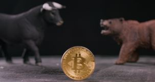 Focus change, Bitcoin bear and bull figures with crypto coin. Bearish or bullish market trend concept