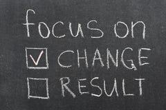 Focus on change. Concept phrase handwritten on blackboard Stock Photography