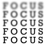 Focus Chart Scale. The word focus in 5 different variations of blurriness and sharpness isolated over white stock illustration