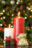 Focus on christmas candles and decorations Royalty Free Stock Photo