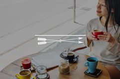 Focus Clarity Concentrate Goals Mission Target Concept. Women drinking coffee restaurant outdoor Stock Photo