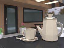 Focus coffee cup and coffee pot blur background of cafe scene 3d low poly cartoon style 3d render royalty free illustration