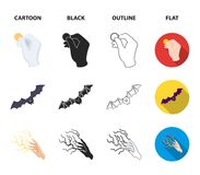 Focus with a coin, a bat, a mage hat, a lightning-fast spell.Black and white magic set collection icons in cartoon,black. Outline,flat style vector symbol stock Royalty Free Stock Images