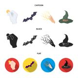 Focus with a coin, a bat, a mage hat, a lightning-fast spell.Black and white magic set collection icons in cartoon,black. Flat style vector symbol stock Royalty Free Stock Images