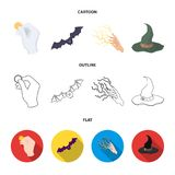 Focus with a coin, a bat, a mage hat, a lightning-fast spell.Black and white magic set collection icons in cartoon. Outline,flat style vector symbol stock Royalty Free Stock Images