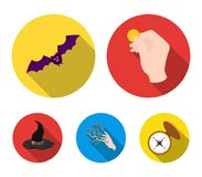 Focus with a coin, a bat, a mage`s hat, a lightning-fast spell.Black and white magic set collection icons in flat style. Vector symbol stock illustration Royalty Free Stock Photos