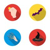 Focus with a coin, a bat, a mage`s hat, a lightning-fast spell.Black and white magic set collection icons in flat style Stock Photo