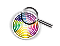 Focus on Colour with Magnifying Glass illustration. An illustration or image showing a magnifying glass with set of colour or color cards in the background Stock Photos