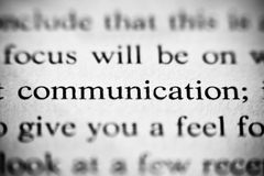 Focus on communication. Macro photo of the word communication in a book Stock Photos