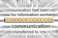 Focus on Communication. In a wooden tile puzzle game Stock Photo
