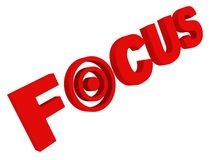 Focus concept red text with target sign Stock Photo
