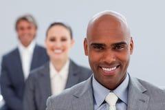 Focus on a confident ethnic businessman stock images
