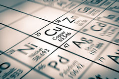 Focus on copper chemical elements Stock Photos