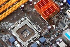 Focus CPU socket on motherboard of computer. Stock Image