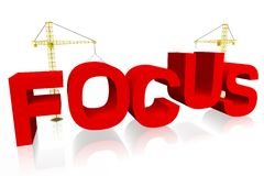 Focus, crane concept, building, buzzword Royalty Free Stock Image