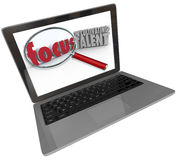 Focus on Cultivating Talent Words Computer Laptop Screen Stock Photo