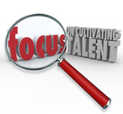 Focus on Cultivating Talent Words Magnifying Glass Finding Emplo Stock Photos
