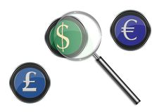 Focus on the currencies, financial crisis. Illustration of a magnifying glass over the symbol of dollar, sterling Pound and euro Royalty Free Stock Photos