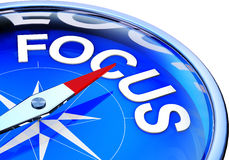 Focus. 3D illustration of a compass with focus icon royalty free illustration