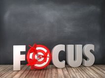 FOCUS 3D Word with Target on Chalkboard Background. High Quality 3D Rendering vector illustration