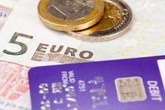 Focus on debit on card with euro Stock Photography