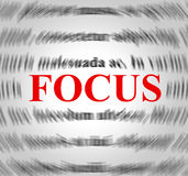 Focus Definition Means Explanation Sense And Concentration. Focus Definition Indicating Concentration Focused And Sense Royalty Free Stock Image