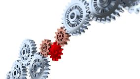 Focus effect on One Red Gear with Some Silver Gears Turning. Focus effect on 3D illustration of One Red Gear with Some Silver Gears Turning stock video