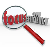 Focus on Efficiency Magnifying Glass Searching Effective Ideas. Focus on Efficiency words under magnifying glass to illustrate searching or looking for ideas on Stock Images