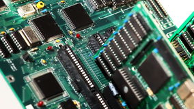 Focus on electronic detail of main board plate stock video