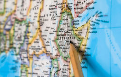 Focus on Ethiopia country on the world map with pencil pointing.  Stock Images