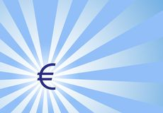 Focus on Euro Dollar with Sunwave Background Royalty Free Stock Image