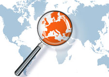 Focus on Europe. World map with a magnifying glass - Europe vector illustration