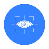Focus of eye in the virtual reality icon in black style isolated on white background. Virtual reality symbol stock Royalty Free Stock Images