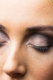 Focus on eyes makeup with closed eyes Stock Photography