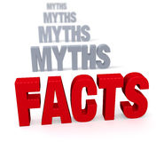 Focus On Facts. Sharp focus on large, shiny red FACTS in front of a row of plain, gray MYTHS blurring and receding into the distance.  Isolated on white Stock Images