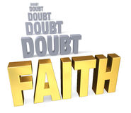 Focus On Faith Over Doubt. Sharp focus on shiny gold FAITH in front of a row of plain, gray DOUBT blurring and receding into the distance.  on white Stock Images