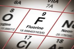 Focus on fluorine chemical element - the most important element against tooth decay - concept image with a Mendeleev periodic stock image