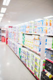 Focus on foreground of an aisle Stock Images