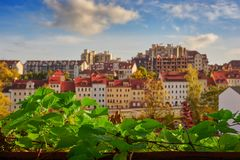 Focus on foreground, blurred view of colorful townhouses Royalty Free Stock Photo
