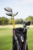 Focus on foreground of a golf bag Royalty Free Stock Image