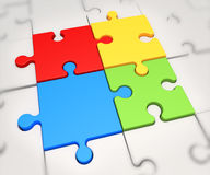 Focus on four puzzle pieces Royalty Free Stock Photo