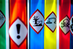 Focus on hazardous to the environment danger. Multicolored Chemistry vials - Focus on hazardous to the environment danger Stock Images