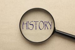 Focus on History. Magnifying glass focusing on HISTORY word. Business concept stock images