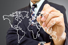 Focus International business market concept. Focus International market concept with a business man pointing the International world map Stock Photography