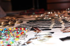 Focus on Jewelries. Jewelries, perls, silver and wood Royalty Free Stock Photos
