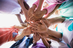 Focus on kids hands during a sunny day at camera Stock Images