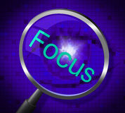 Focus Magnifier Shows Magnification Attention And Focused. Magnifier Focus Representing Searches Concentrate And Concentration Stock Photography